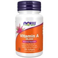 Vitamin A 25,000 100 Softgels NOW