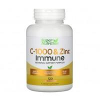 Vitamina C 1000 e Zinco Immune 120vcaps SUPER Nutrition